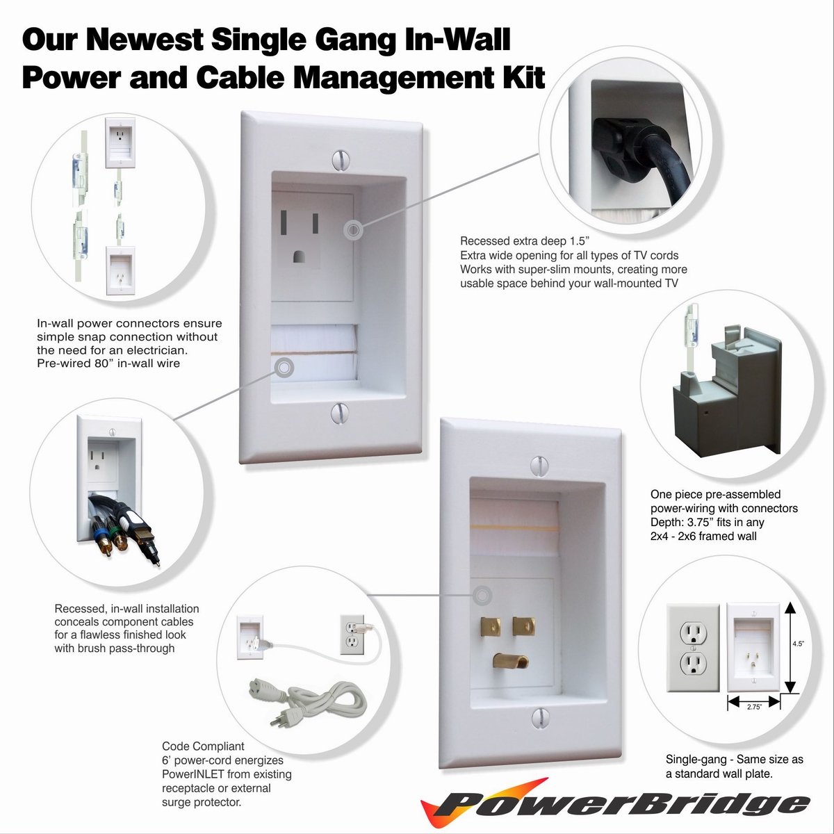 Powerbridge Total Power Control Kit Single Pre Wiring Home Cable Their Respective Cables The Below Instructional Video And Printed Instructions That Come With Product Contain Additional Detailed Information