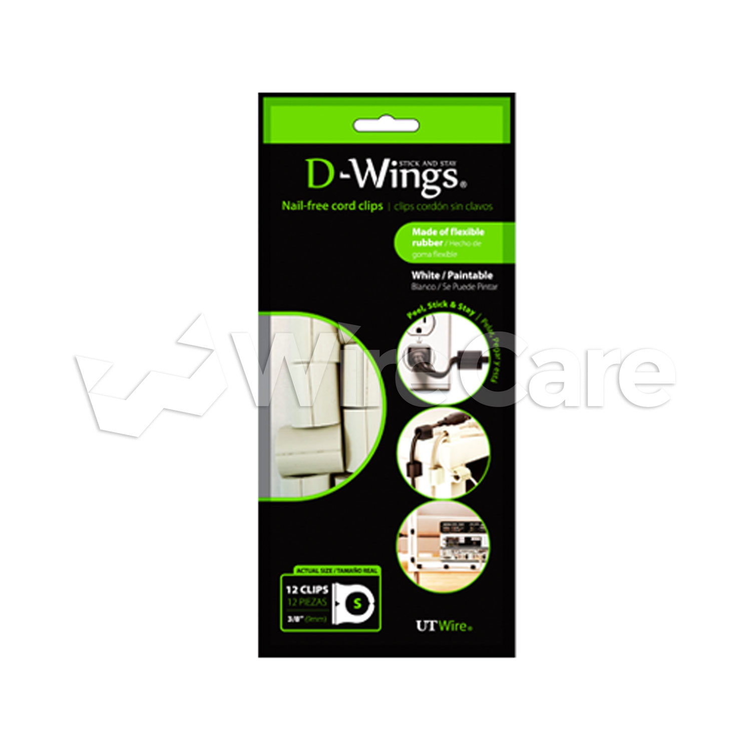 UT Wire - D-Wings Cord Clips, Small, White, 12 pc pk - WireCare.com